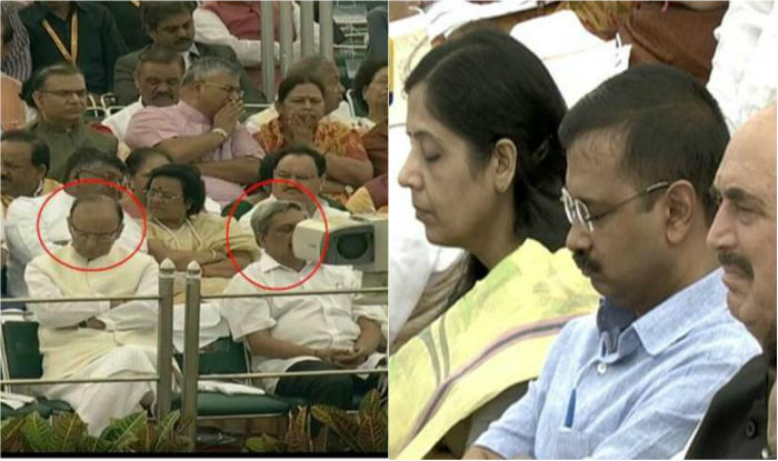 Jaitley, Parrikar, Kejriwal taking nap during PM Modi's Independence Day speech