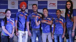 Indian Contingent for Rio Olympics 2016  Deepika Kumari, left, Sardar Singh, second left, Manika Batra, right, Ritu Rani, second right and Indian boxer Mary Kom, third from right, pose with Bollywood actor Salman Khan, centre, at an event to announce Khan as the goodwill ambassador for Rio Olympics 2016 in New Delhi, India, Saturday, April 23, 2016. (AP Photo/Altaf Qadri)