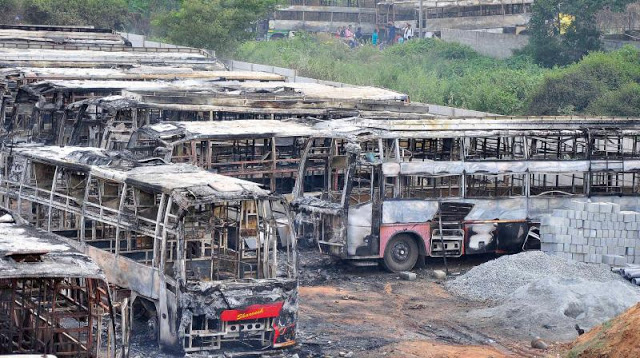 kpn-bus-burnt-by-instigation-of-woman-in-bangalore