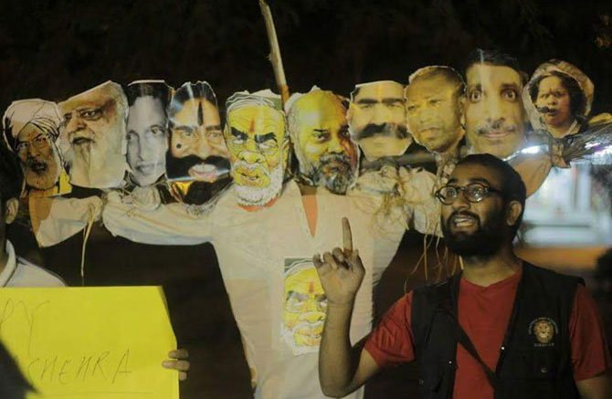 JNU students burnt effigy of PM Modi Amit Shah on Dussehra