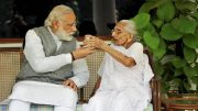 PM Narendra Modi meets his mother to seek her blessings