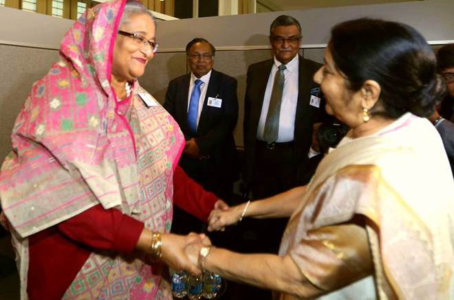 Rohingya crisis: Sushma Swaraj meets Sheikh Hasina, no discussion on ongoing issue so far